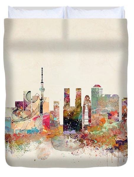 Tokyo City Skyline Duvet Cover