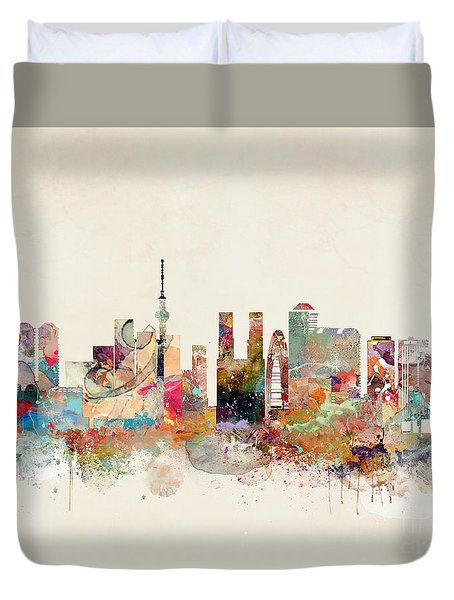 Duvet Cover featuring the painting Tokyo City Skyline by Bri B
