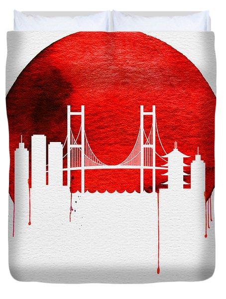 Tokyo Skyline Red Duvet Cover