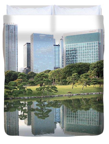 Tokyo Skyline Reflection Duvet Cover