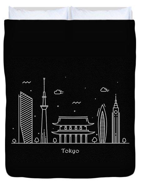 Tokyo Skyline Travel Poster Duvet Cover