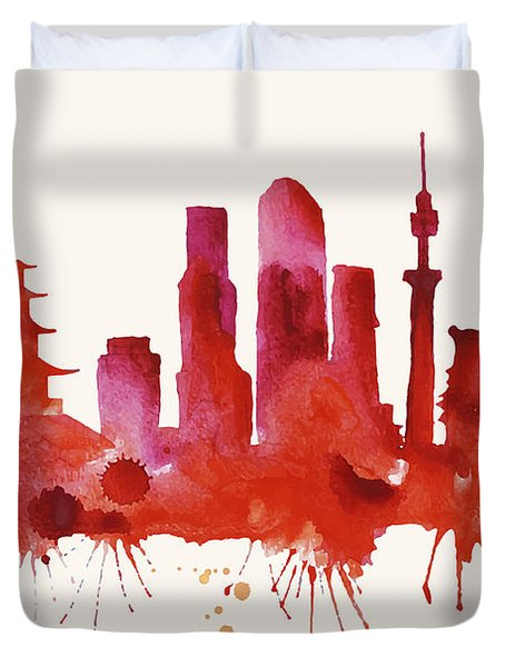 Tokyo Skyline Watercolor Poster - Cityscape Painting Artwork Duvet Cover by Beautify My Walls