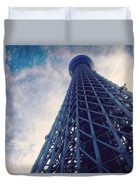 Skytree Tower From The Bottom, Tokyo, Japan Duvet Cover by Yoshiaki Tanaka