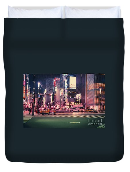 Tokyo Street At Night, Japan 2 Duvet Cover