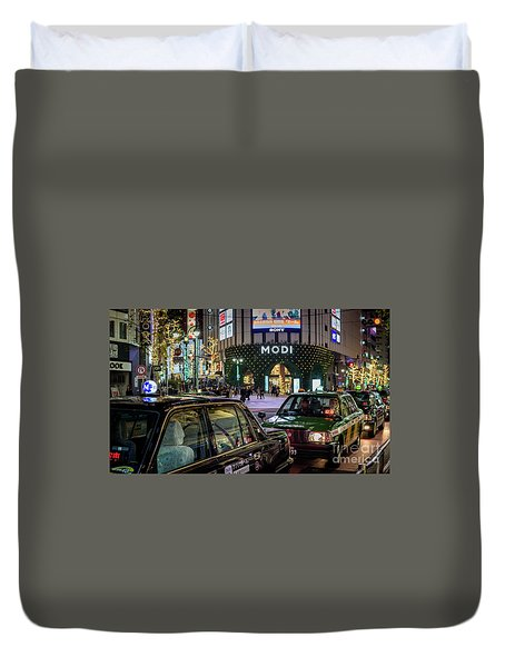 Tokyo Taxis, Japan Duvet Cover