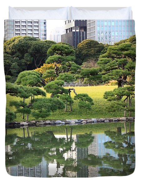 Tokyo Trees Reflection Duvet Cover by Carol Groenen