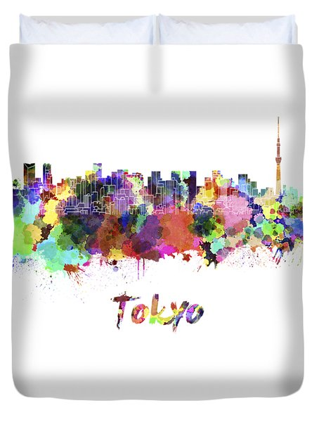 Tokyo V2 Skyline In Watercolor Duvet Cover