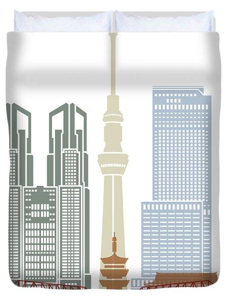 Tokyo V2 Skyline Poster Duvet Cover
