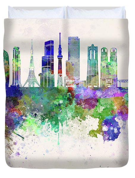 Tokyo V3 Skyline In Watercolor Background Duvet Cover by Pablo Romero