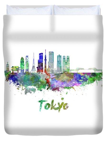 Tokyo V3 Skyline In Watercolor Duvet Cover