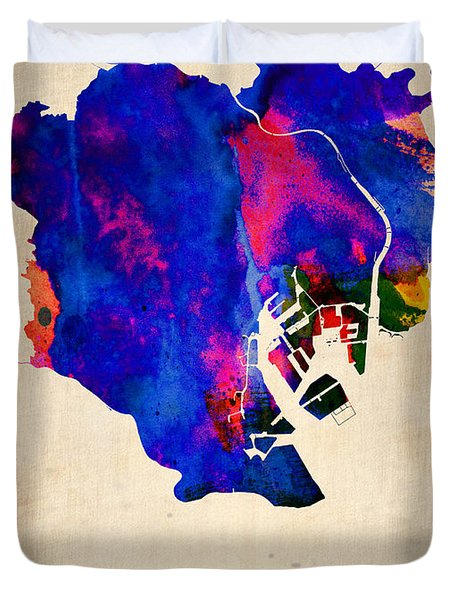 Tokyo Watercolor Map 2 Duvet Cover by Naxart Studio