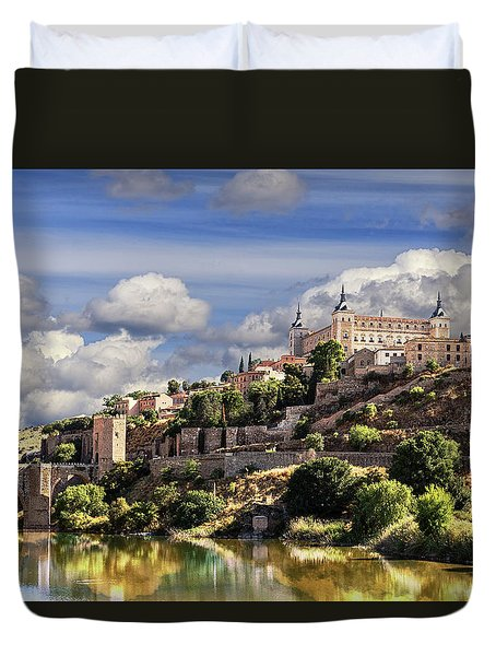 Toledo. Majestic Stone Fortress The Alcazar Is Visible From Any Part Of The City Duvet Cover