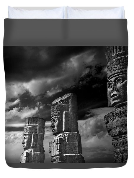 Duvet Cover featuring the photograph Toltec Warriors Of Tula by John Bartosik