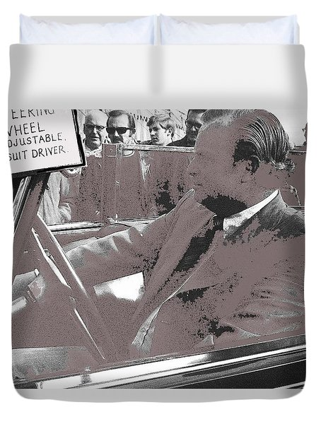 Duvet Cover featuring the photograph Tom Barrett At The Wheel Of Adolf Hitlers Mercedes Benz 770k Touring Car Scottsdale Az 1973-2016 by David Lee Guss