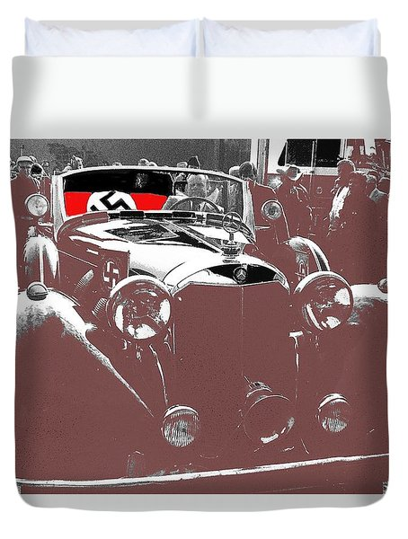 Duvet Cover featuring the photograph Tom Barrett Waiting For Adolf Hitlers Mercedes Benz Touring Car To Be Loaded  Scottsdale  1973-20l6 by David Lee Guss