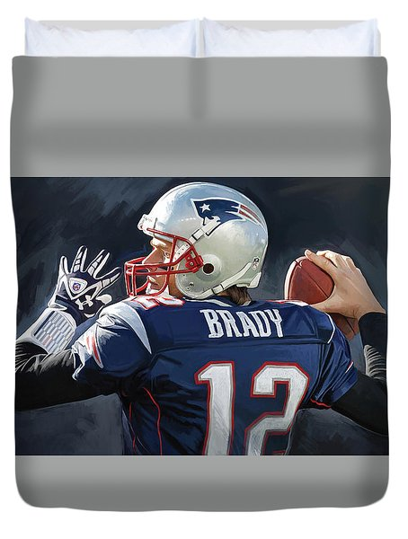 Duvet Cover featuring the painting Tom Brady Artwork by Sheraz A