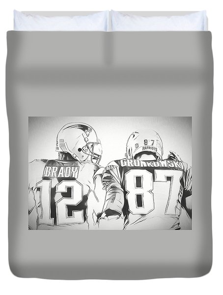 Duvet Cover featuring the drawing Tom Brady Rob Gronkowski Sketch by Dan Sproul