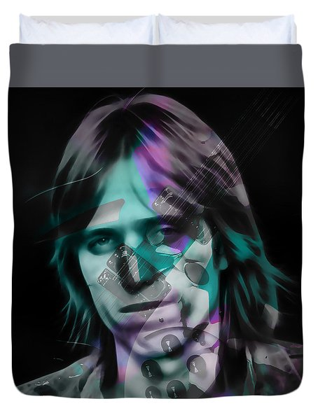 Duvet Cover featuring the mixed media Tom Petty Rock Royalty by Marvin Blaine