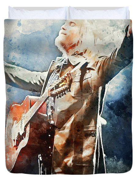 Tom Petty - Watercolor Portrait 13 Duvet Cover