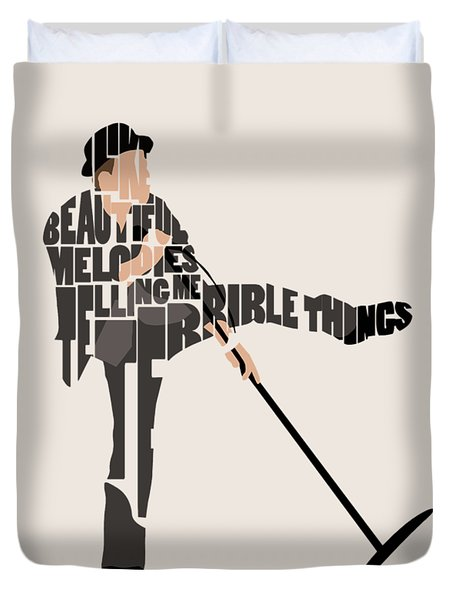 Duvet Cover featuring the digital art Tom Waits Typography Art by Inspirowl Design