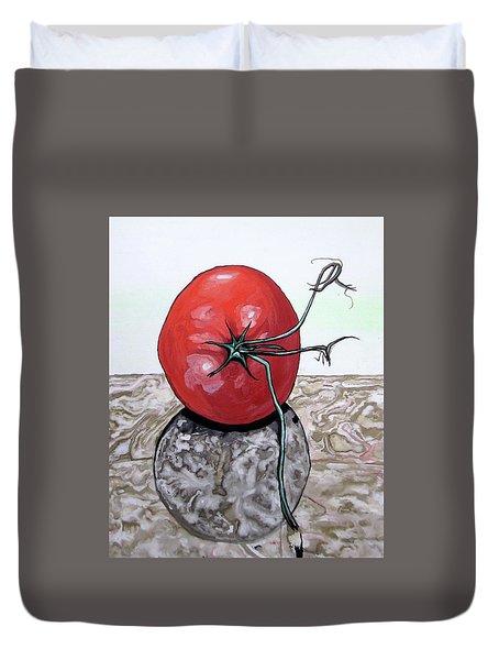 Tomato On Marble Duvet Cover by Mary Ellen Frazee