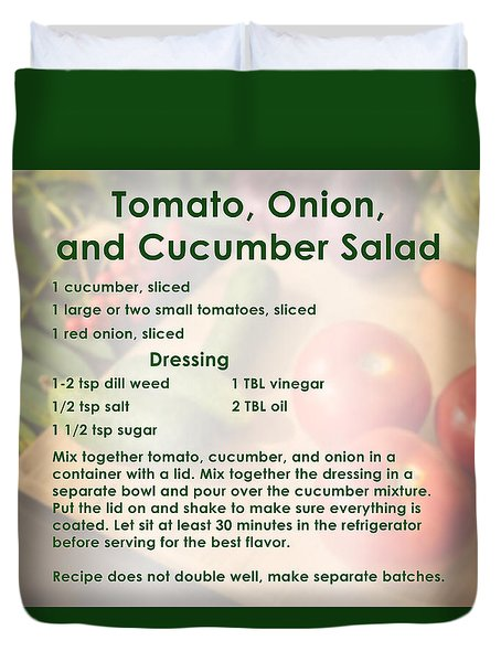 Tomato Onion Cucumber Salad Recipe Duvet Cover
