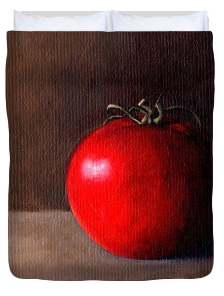 Duvet Cover featuring the painting Tomato Still Life 1 by Janet King