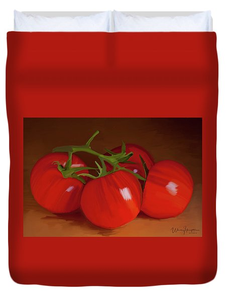 Tomatoes 01 Duvet Cover by Wally Hampton