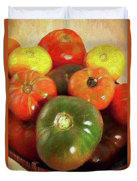 Duvet Cover featuring the painting Tomatoes In A Basket Ap by Dan Carmichael