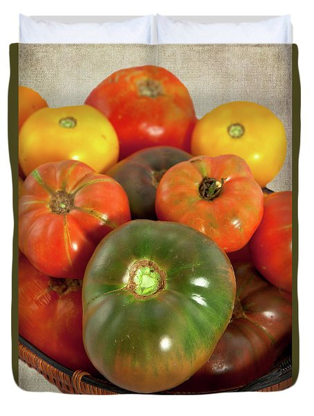 Duvet Cover featuring the photograph Tomatoes In A Basket by Dan Carmichael
