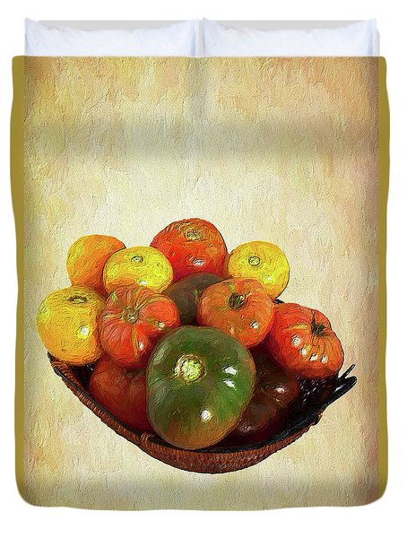 Duvet Cover featuring the painting Tomatoes In A Basket Wide Ap by Dan Carmichael
