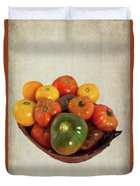 Duvet Cover featuring the photograph Tomatoes In A Basket Wide by Dan Carmichael