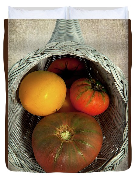 Duvet Cover featuring the photograph Tomatoes In A Horn Of Plenty Basket 2 by Dan Carmichael