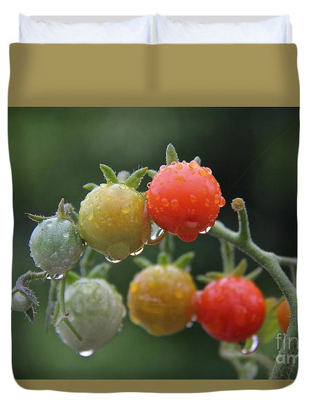 Duvet Cover featuring the photograph Tomatoes In The Rain by Suzanne Oesterling