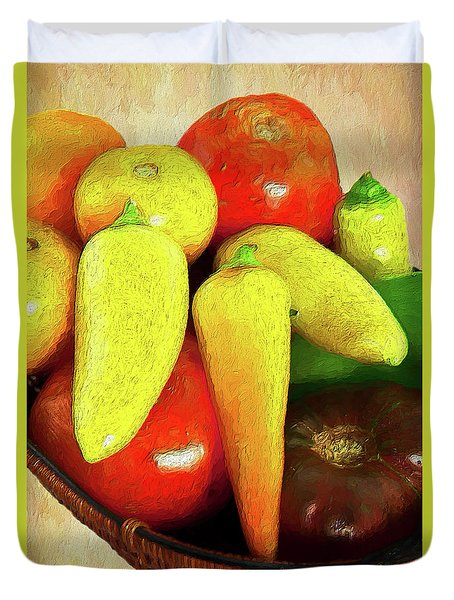 Duvet Cover featuring the painting Tomatoes Peppers In A Basket Ap by Dan Carmichael
