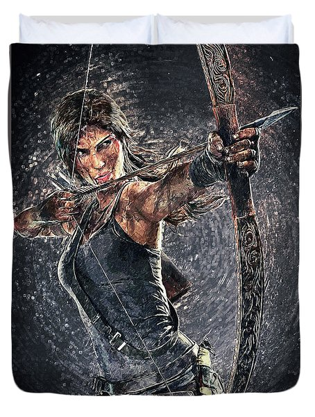 Duvet Cover featuring the digital art Tomb Raider by Taylan Apukovska