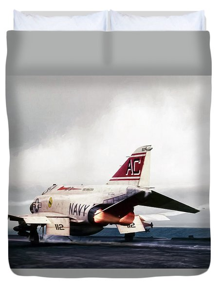 Duvet Cover featuring the digital art Tomcatter Launch by Peter Chilelli