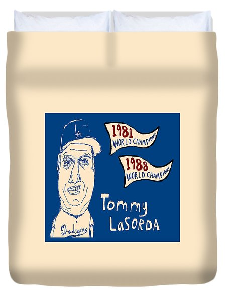 Tommy Lasorda Los Angeles Dodgers Duvet Cover by Jay Perkins