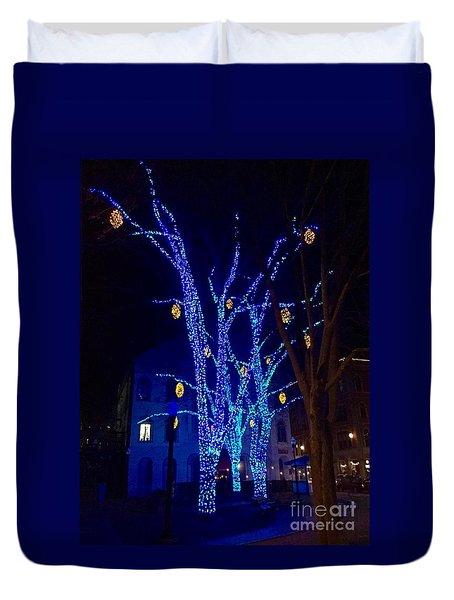 Tommy's Park, Portland, Maine,, Christmas 2015 Duvet Cover by Patricia E Sundik