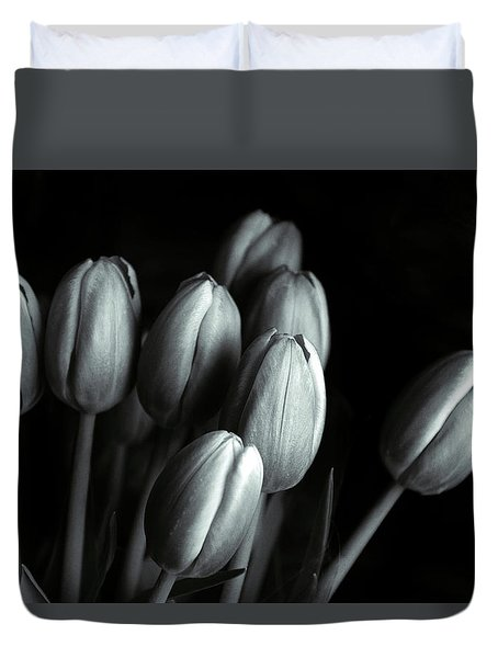 Duvet Cover featuring the photograph Tonal Tulips by Jessica Jenney