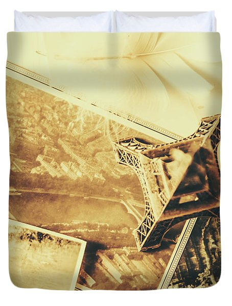 Toned Image Of Eiffel Tower And Photographs On Table Duvet Cover