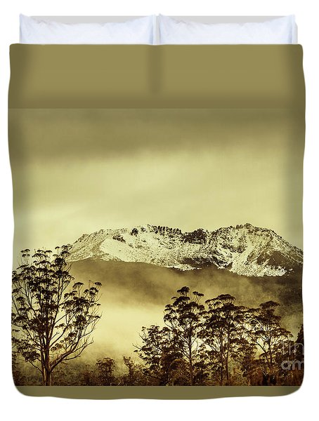 Toned View Of A Snowy Mount Gell, Tasmania Duvet Cover