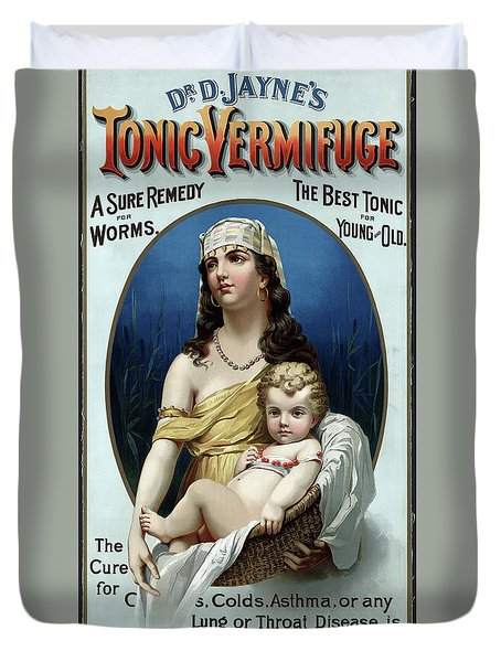 Duvet Cover featuring the photograph Tonic Vermifuge Patent Medicine 1889 by Daniel Hagerman