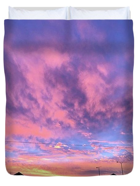 Tonight's Sunset Over Tesco :) #view Duvet Cover by John Edwards
