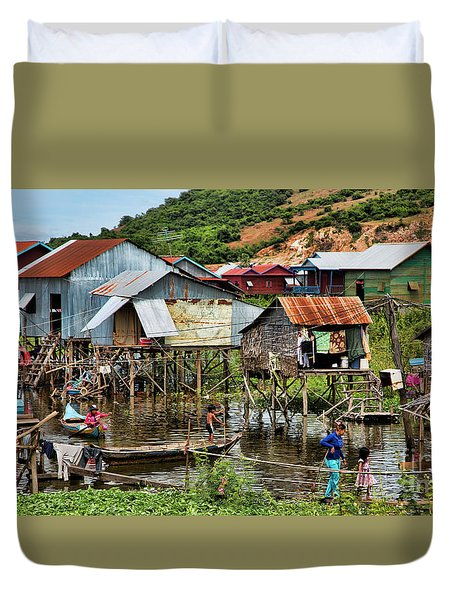 Tonle Sap Boat Village Cambodia Duvet Cover by Chuck Kuhn