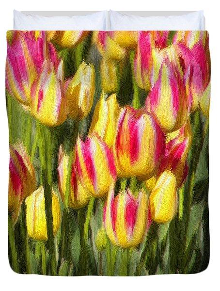 Too Many Tulips Duvet Cover by Jeff Kolker