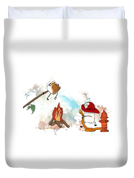 Duvet Cover featuring the digital art Too Toasted Illustrated by Heather Applegate