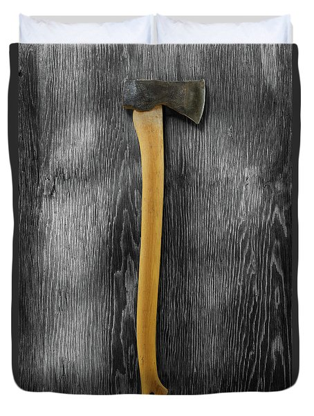 Tools On Wood 12 On Bw Duvet Cover by YoPedro