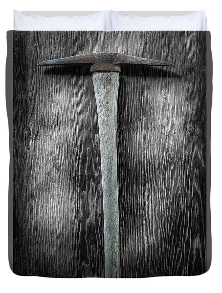 Tools On Wood 13 On Bw Duvet Cover by YoPedro