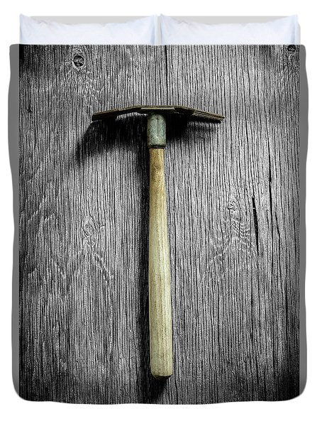 Tools On Wood 16 On Bw Duvet Cover by YoPedro